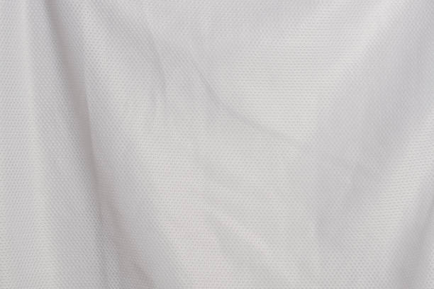 white fabric jersey sports texture material background - nylon texture stock pictures, royalty-free photos & images