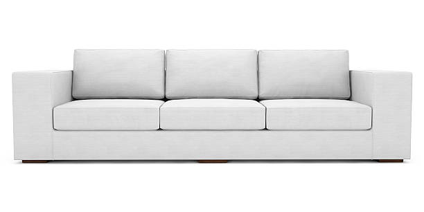 White Fabric Sofa With Clipping Path stock photo