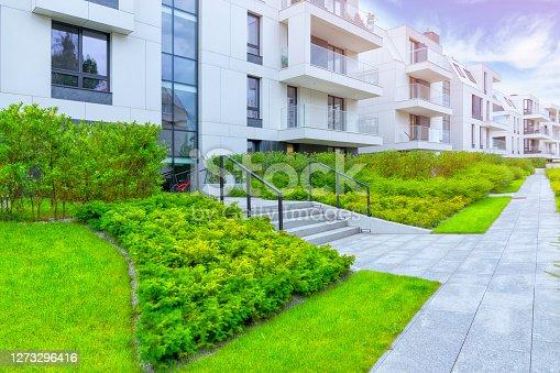 istock White facade in a modern apartment complex 1273296416