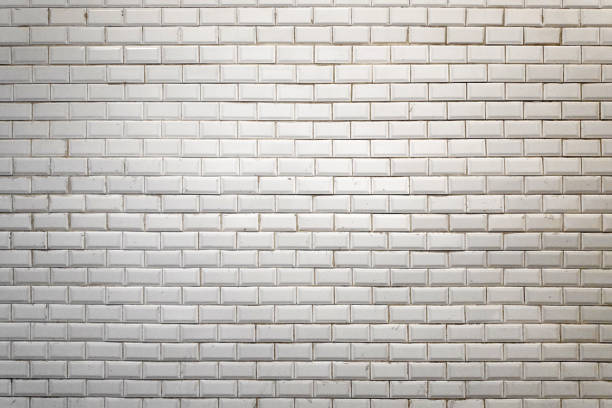 White faience wall of the Paris Metro stock photo