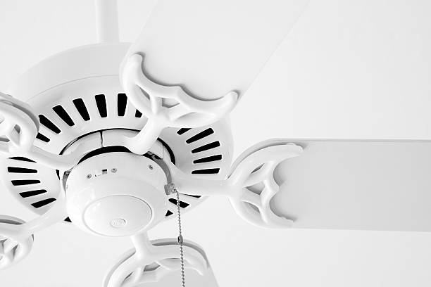 White Fan A white ceiling fan against a white ceiling. Subtle contrast. ceiling fan stock pictures, royalty-free photos & images