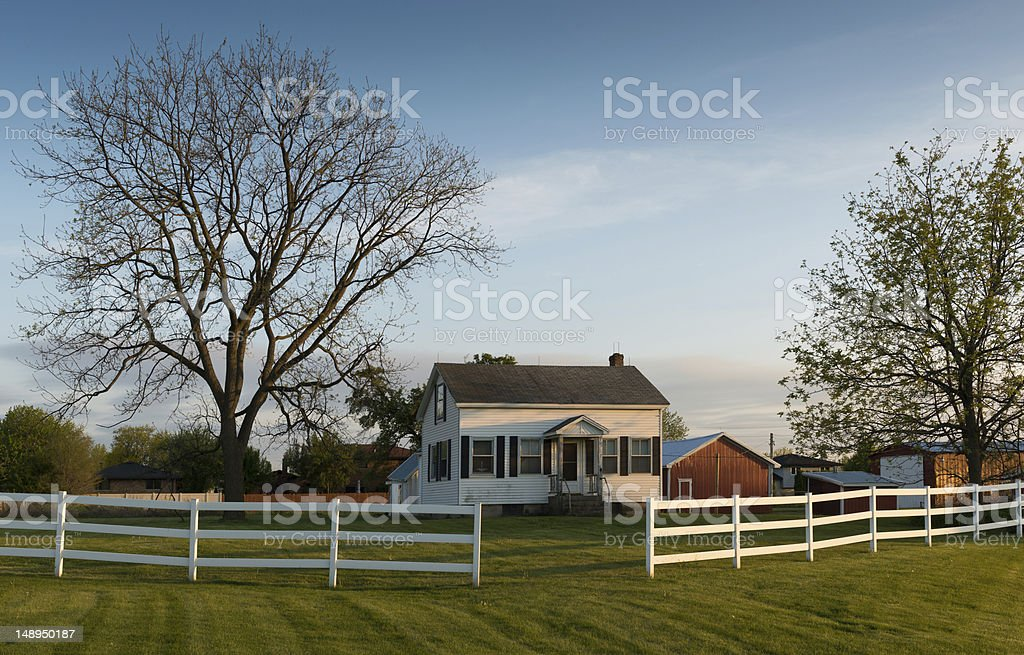 White farmhouse stock photo