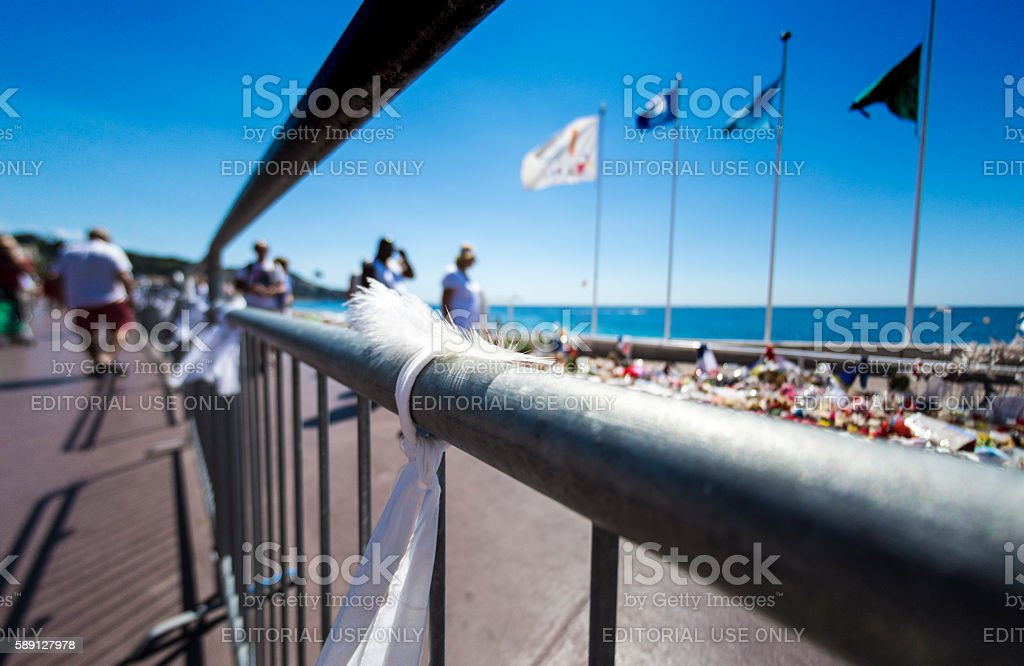 White Feather at Nice Terrorist Attack Memorial stock photo