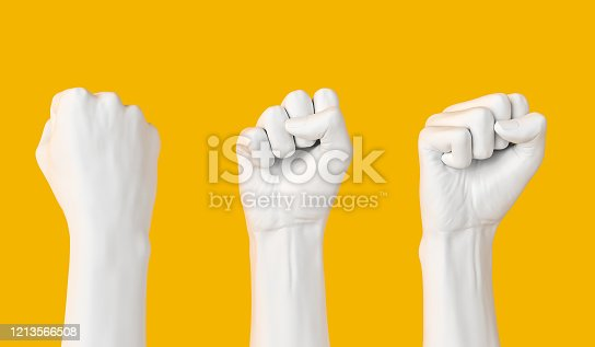 White female Hand Fist set isolated, woman rights, protest, conflict or winner concept, Girl power creative banner. 3d illustration