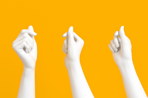 White female hand holding card, paper or something else isolated on yellow background, 3d rendering