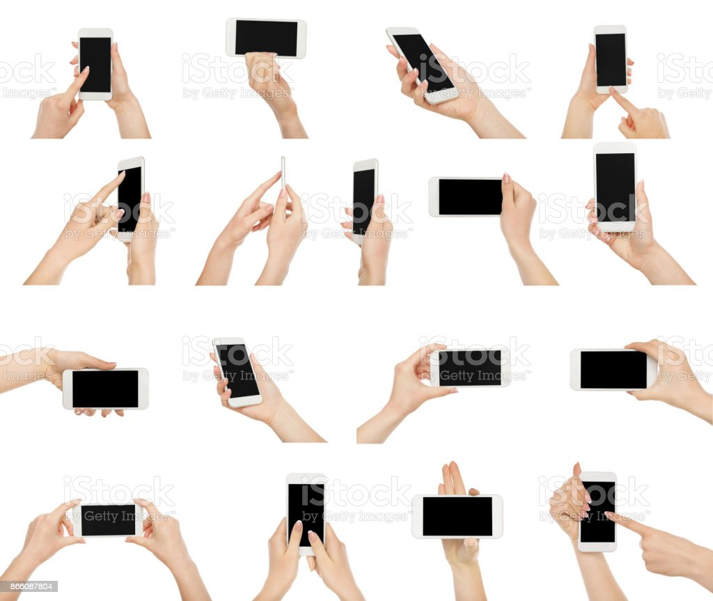 White female hands with smartphone stock photo