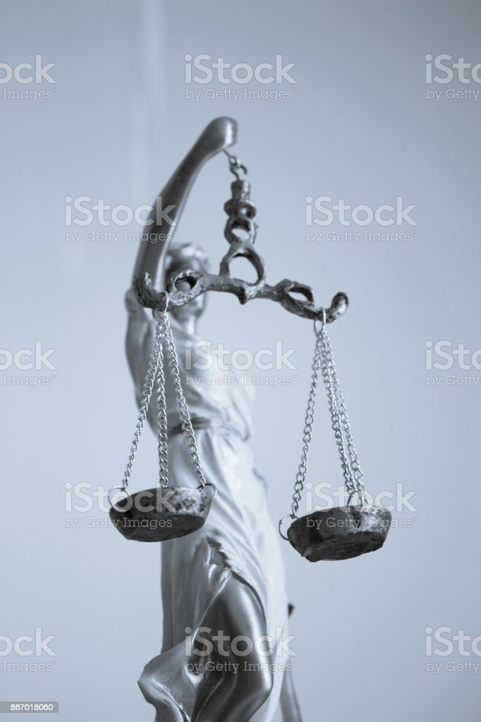 White female statue symbol of justice Themis. stock photo