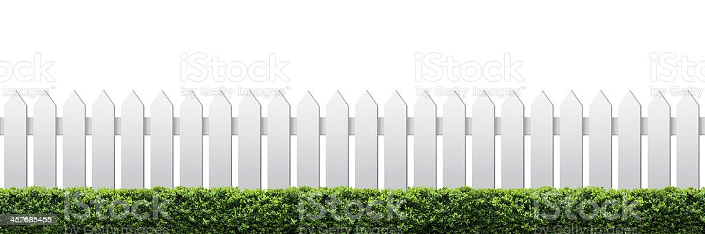 White fence and hedge stock photo