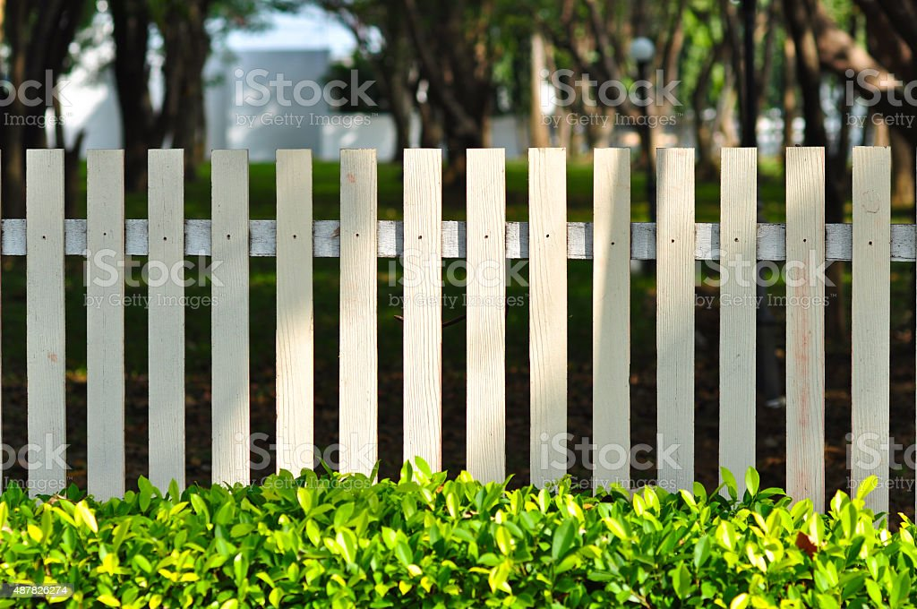 white fence in front of garden stock photo
