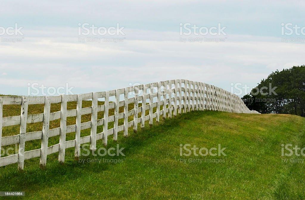 White fence line royalty-free stock photo