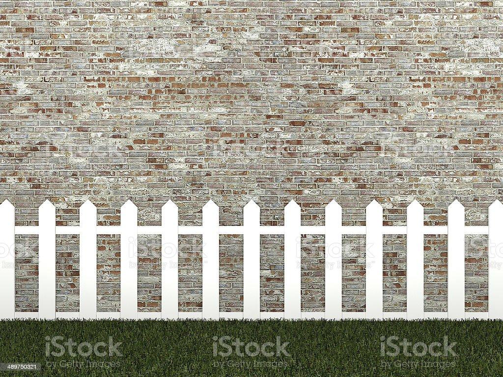Staccionata Bianca In Legno recinzione bianca sul muro di mattoni 3d - fotografie stock