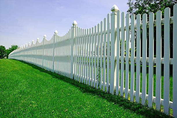 white fence - fence stock photos and pictures