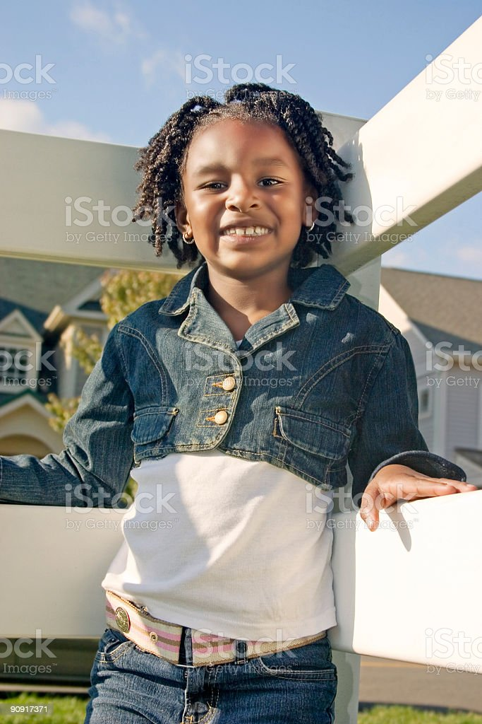 White Fence Portrait royalty-free stock photo