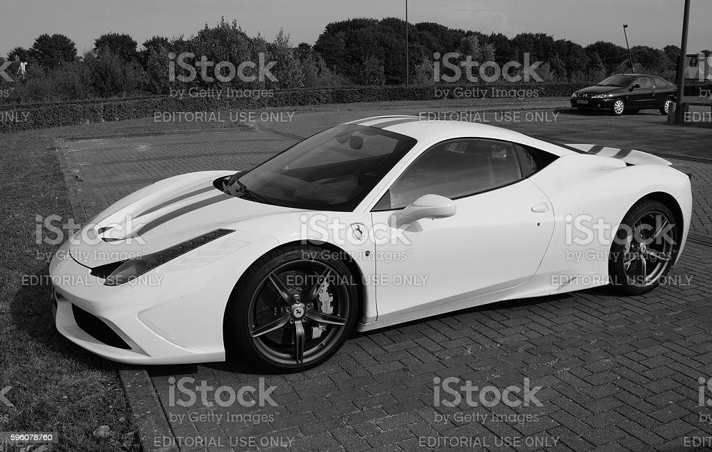 White Ferrari 458 Italia - black and white stock photo