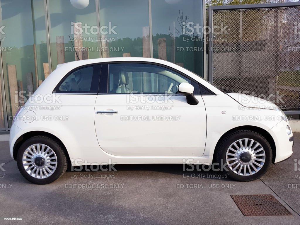 White Fiat 500 stock photo