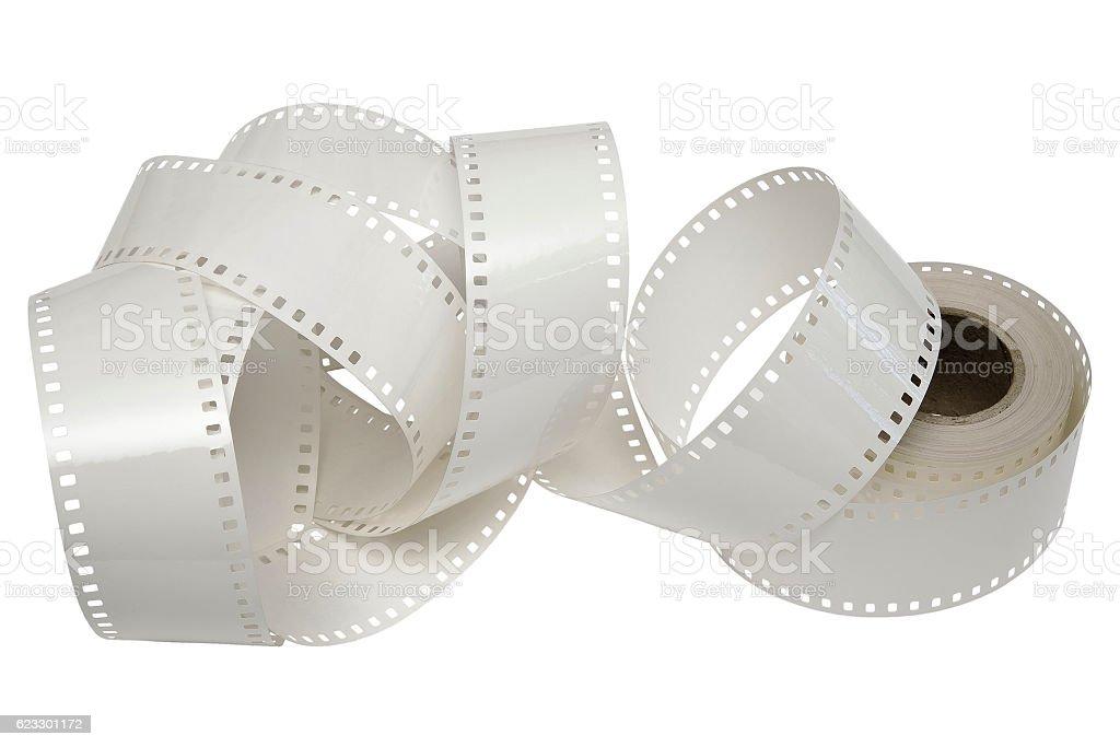 White film reel on a white background stock photo