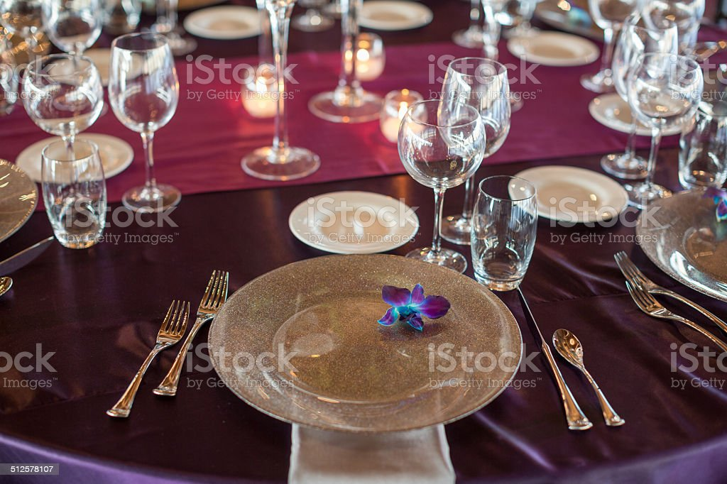 Awesome White Fine Dining Serving Set, Place Setting With Wine, Silverware  Royalty Free Stock