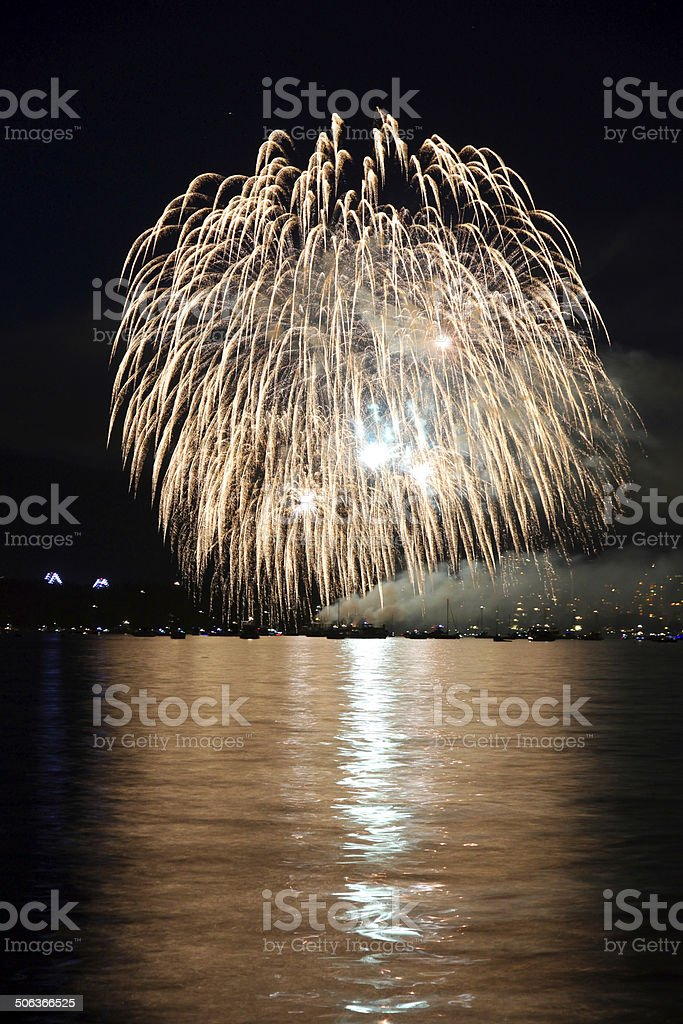 Fireworks over Vancouver\'s English Bay.