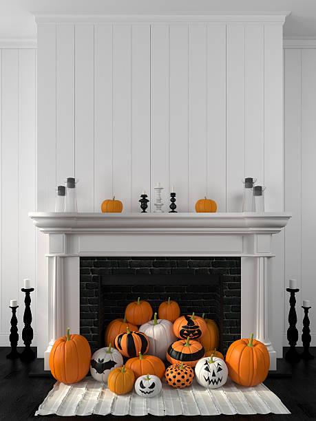 weißen kamin dekoriert mit kürbisse für halloween - kamin weiß stock-fotos und bilder