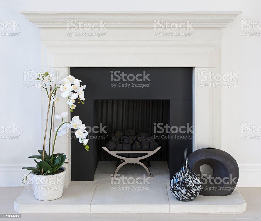 white fireplace stock photo