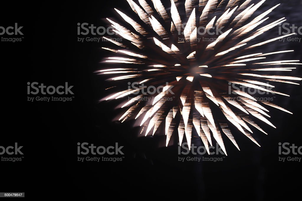 White fireworks against black sky.  Copy space.  Abstract. royalty-free stock photo