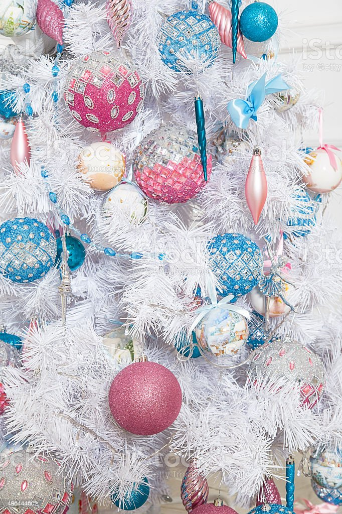 White Firtree With Pink And Blue Christmas Toys Stock Photo Download Image Now Istock