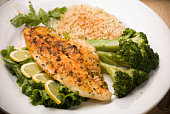 istock White Fish Fillet with Broccoli Spears 92627817