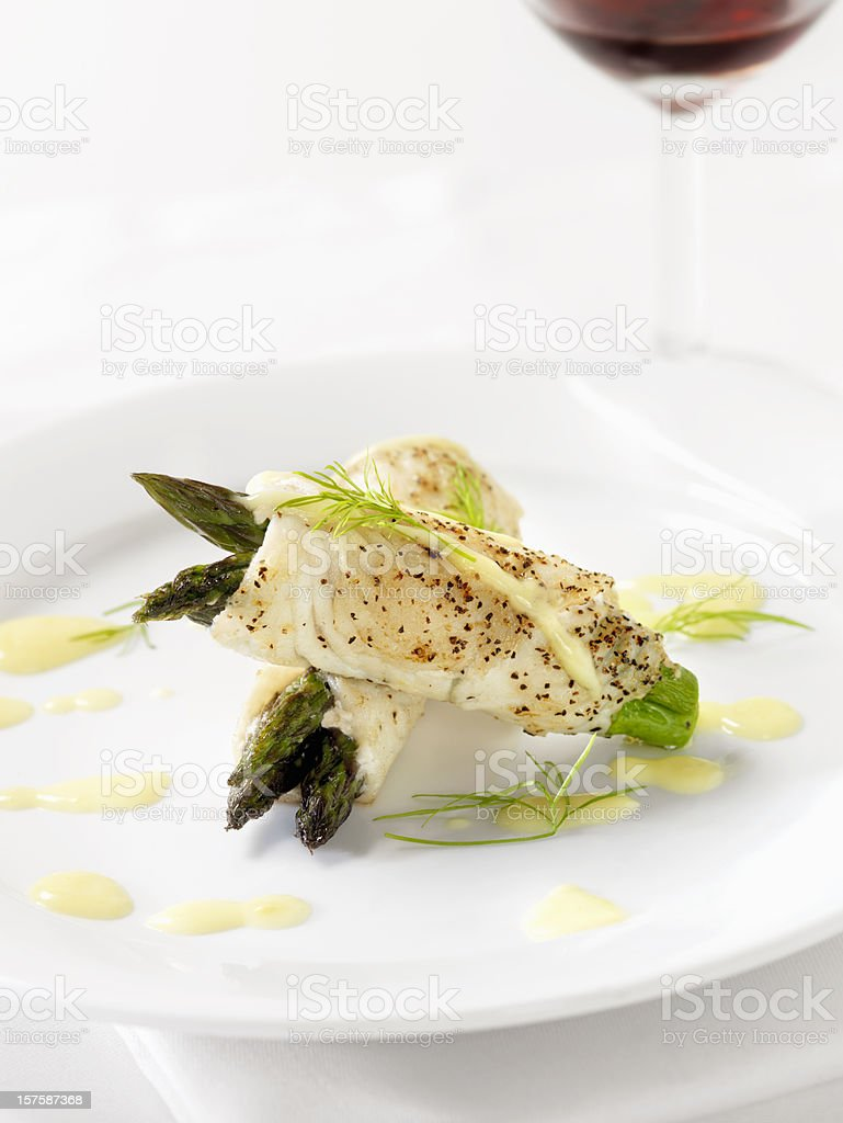 White Fish with Asparagus & Hollandaise Sauce stock photo