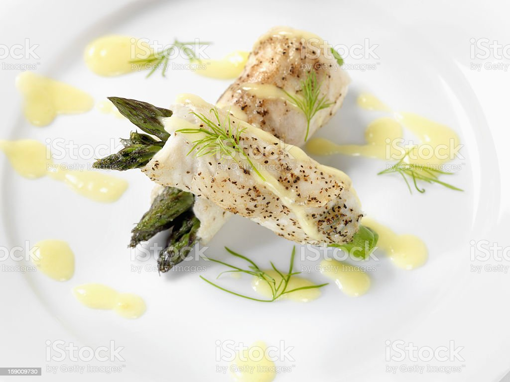 White Fish with Asparagus & Hollandaise Sauce royalty-free stock photo