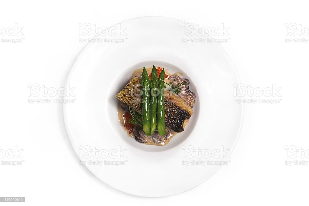 White fish with asparagus royalty-free stock photo