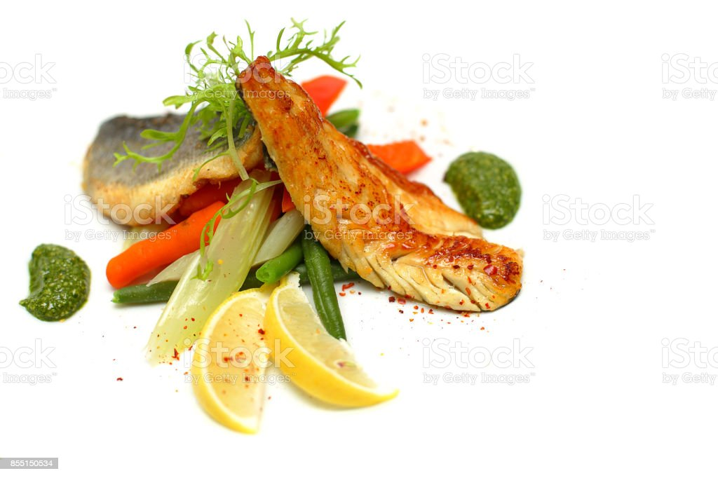 White fish with vegetable stock photo