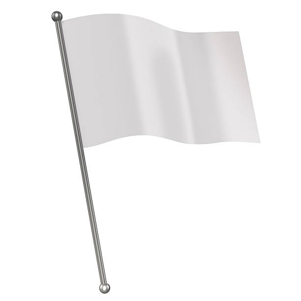 white flag 3d illustration - clip art stock photos and pictures