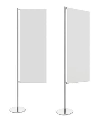 White flag banner stand. 3d rendering illustration
