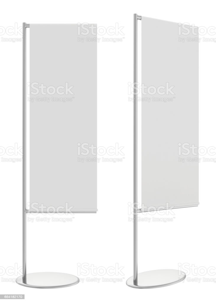 White flag banner stand. 3d rendering stock photo