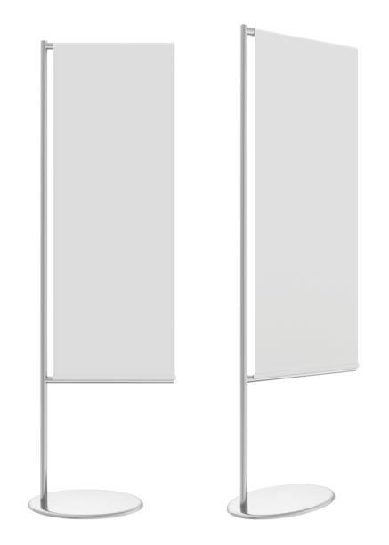 White flag banner stand. 3d rendering stock photo