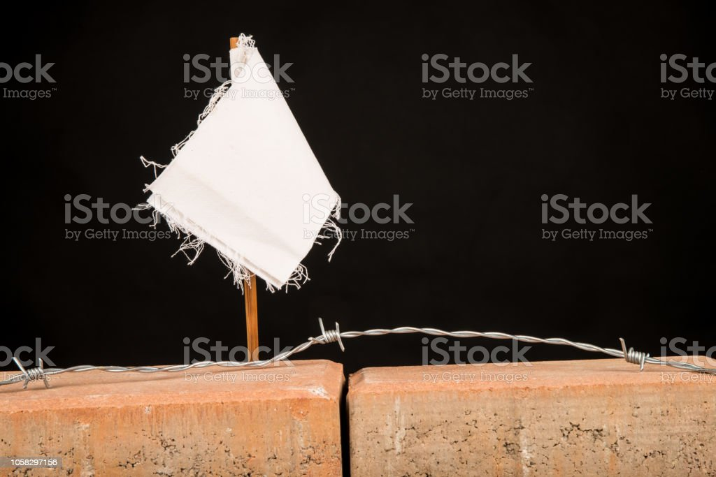 White flag concept stock photo
