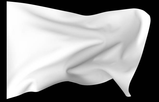 White flag isolated on black - very sharp focus all over stock photo