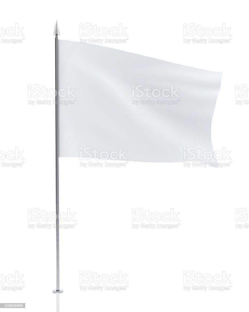 Weiße Flagge, isoliert auf weißem Hintergrund – Foto