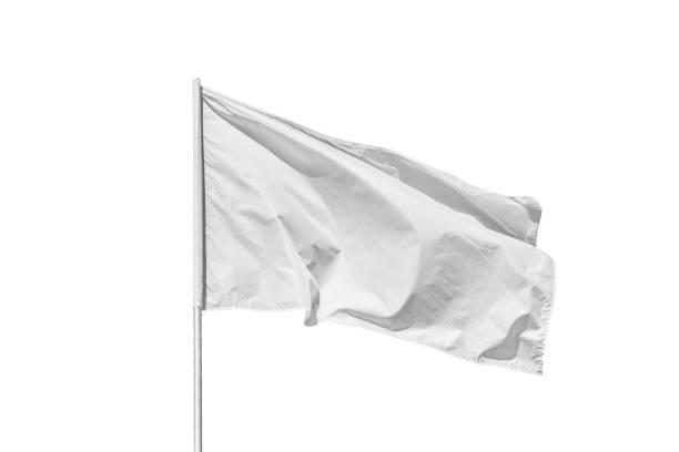 White flag isolated on white stock photo