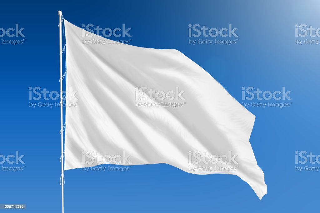 White flag on clear blue sky stock photo