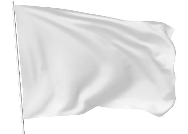 white flag on flagpole - flag stock photos and pictures