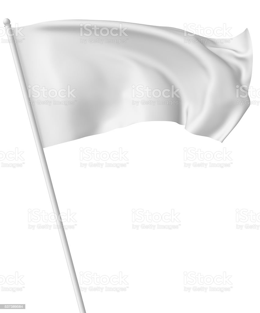 White flag on flagpole waving in wind stock photo