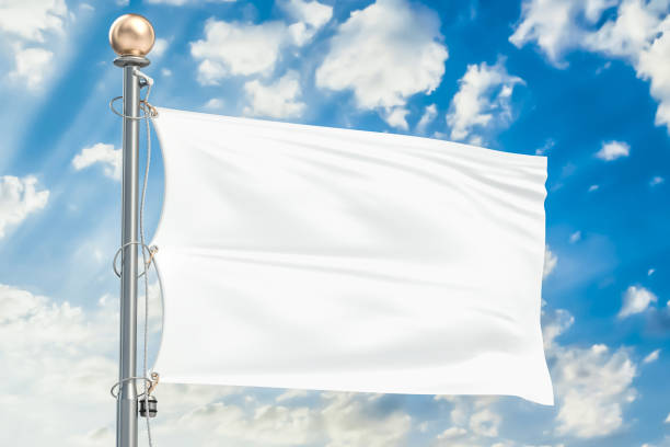 White flag waving in blue cloudy sky, 3D rendering White flag waving in blue cloudy sky, 3D rendering flagpole stock pictures, royalty-free photos & images
