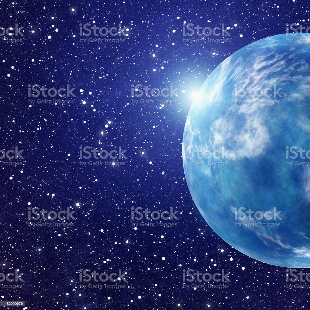 white flash of space planet. cosmos sky backgrounds stock photo