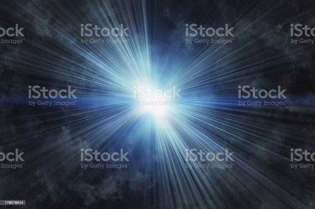 white flash on a cosmos stars backgroudns stock photo