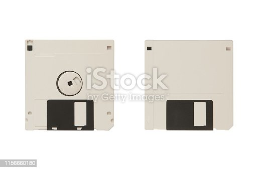 White floppy diskette with two sides isolated on the white background.