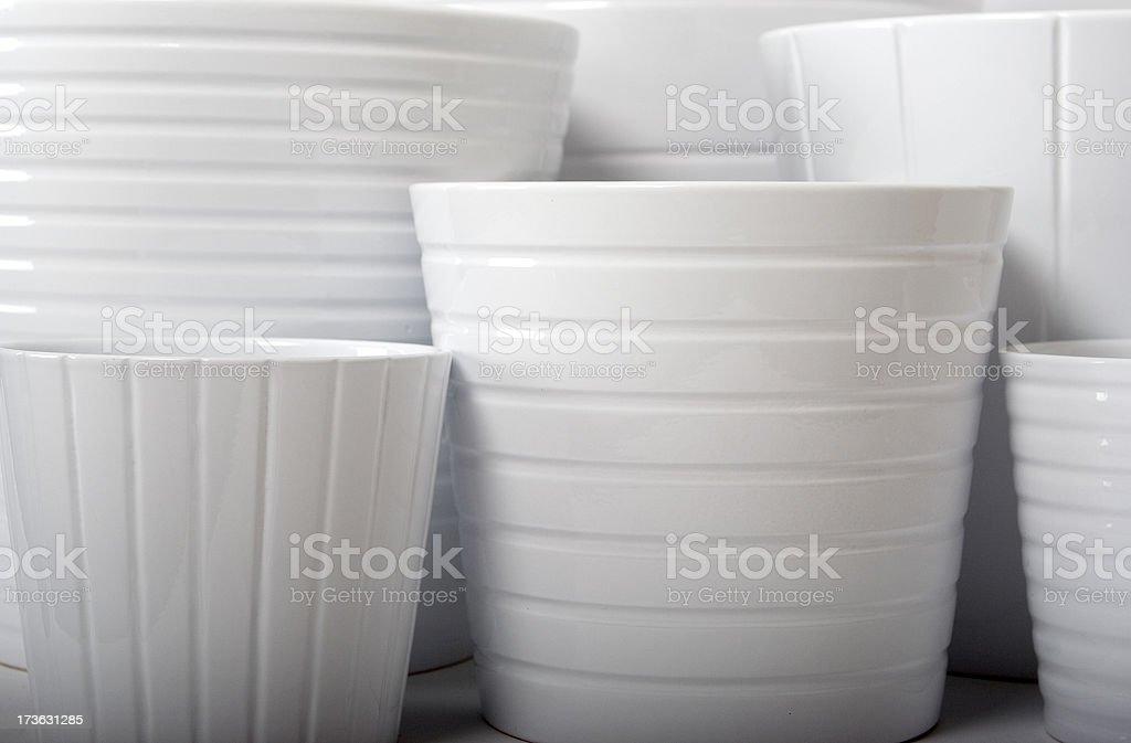 white flower pots 3 royalty-free stock photo