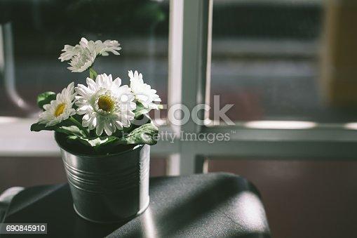 697868238 istock photo white flowers in a tin pot near the window 690845910