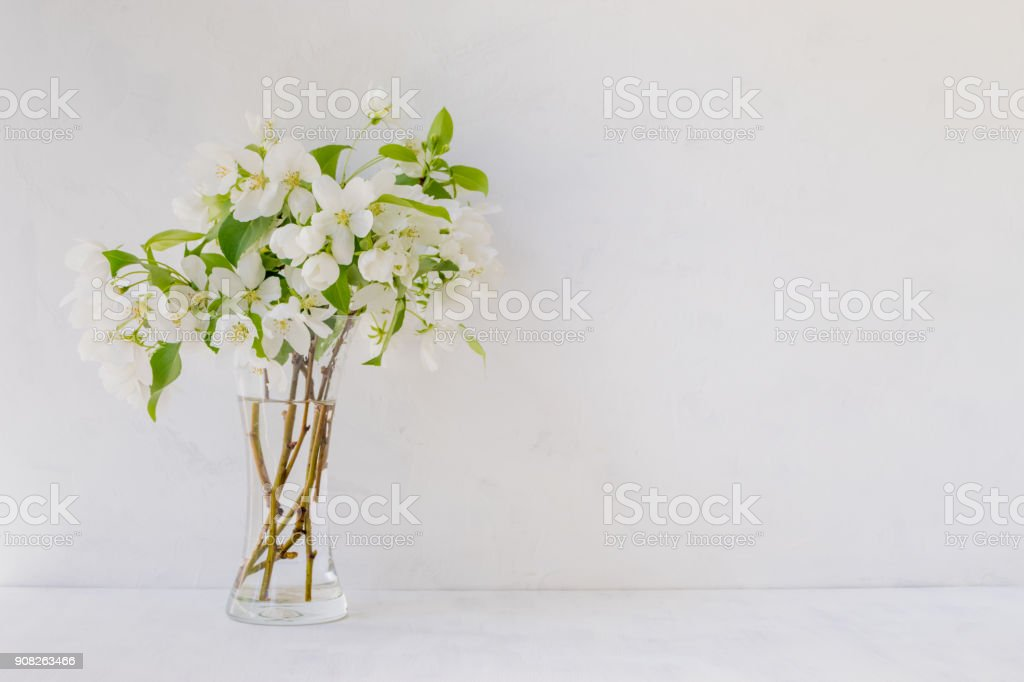 Fleurs blanches dans un vase sur fond clair - Photo