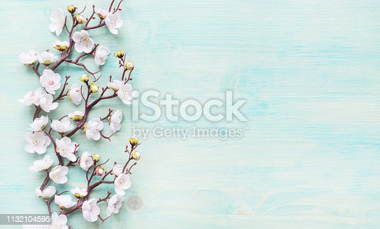 istock White flowers on blue wooden background 1132104595